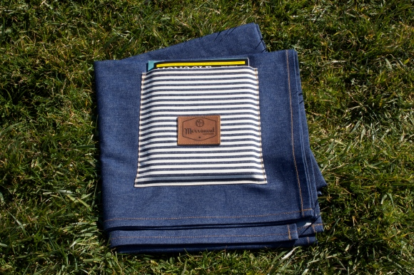 Indigo denim with striped storage pocket. $89