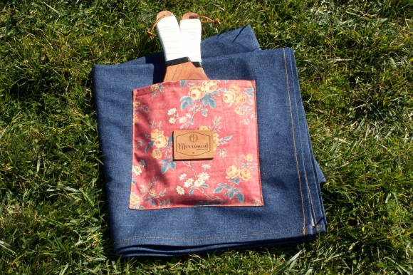 Large indigo denim blanket with floral storage pocket. $89. Buy with Paypal