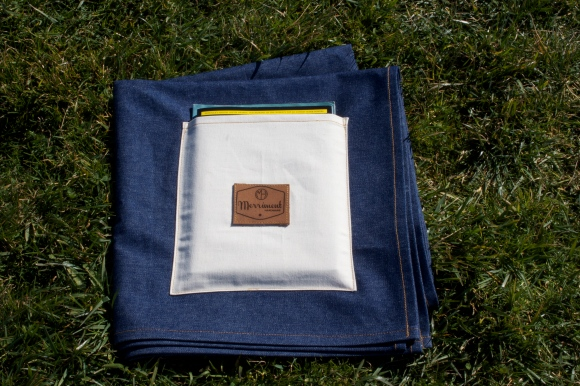 Large indigo denim blanket with selvedge canvas storage pocket. $89. Buy with PayPal
