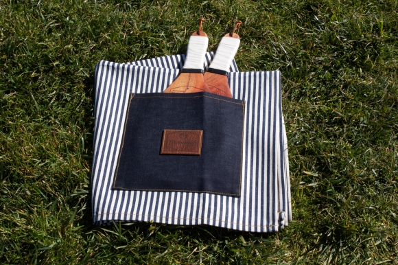 Large striped denim blanket with selvedge storage pocket. $89. Buy with PayPal